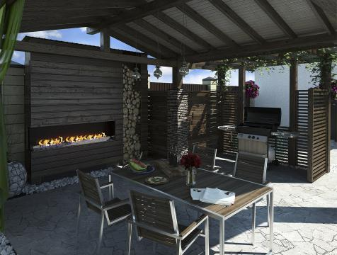A decorative outdoor propane fireplace in a covered patio
