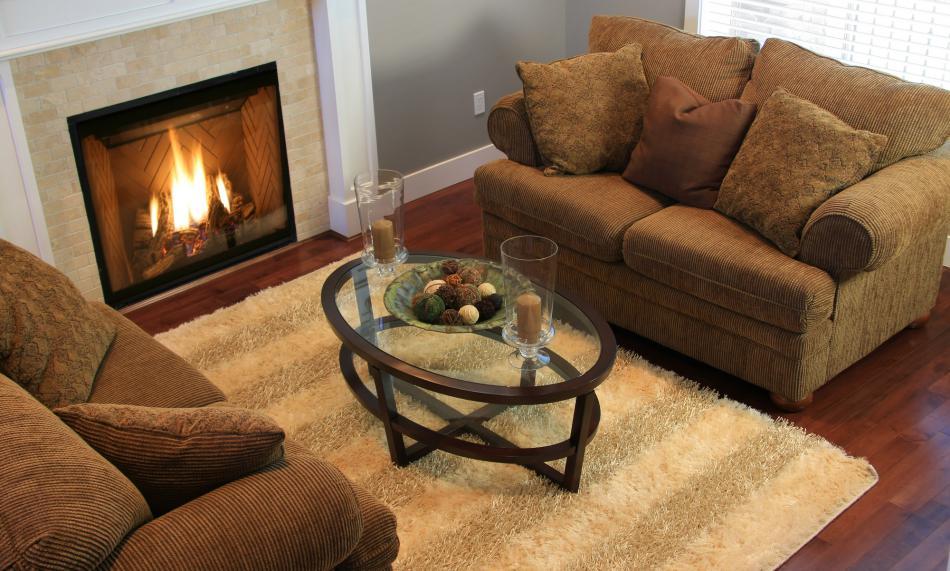 Indoor propane fireplace in marble