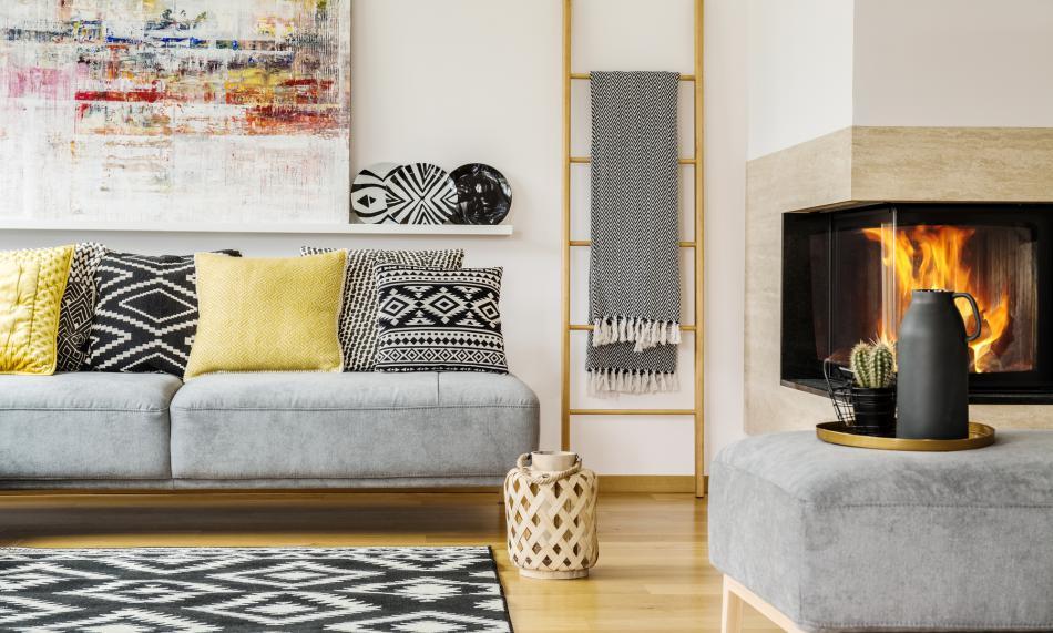 Indoor propane fireplace in living room