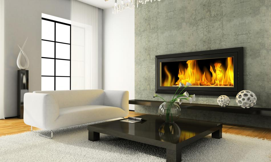 Modern wall mounted indoor propane fireplace