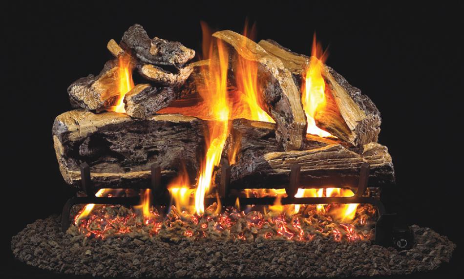 Charred rugged split oak propane log set