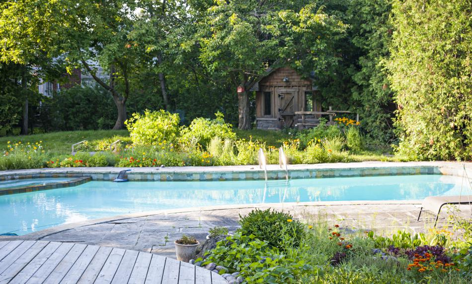 A beautiful backyard with a an in-ground pool