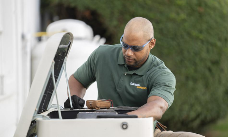 BantamWesson Electrician working on a generator