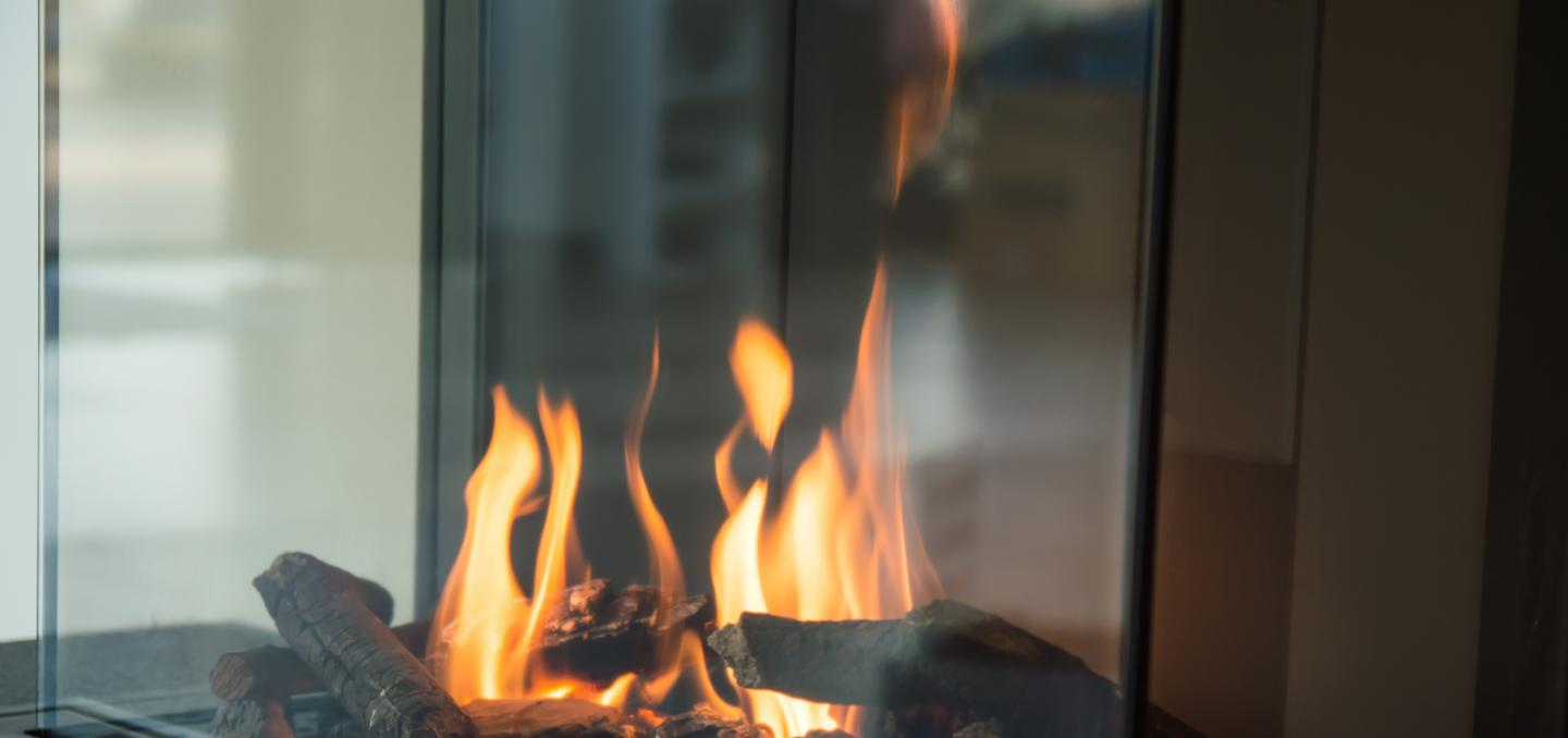 Close up of indoor propane fireplace
