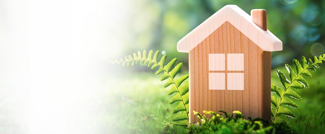 Wooden toy house with a nature green background