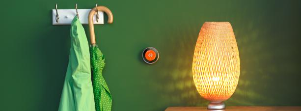 A Nest Wi-Fi Thermostat in a home