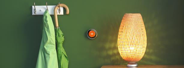 A home with a Nest thermostat against a green wall