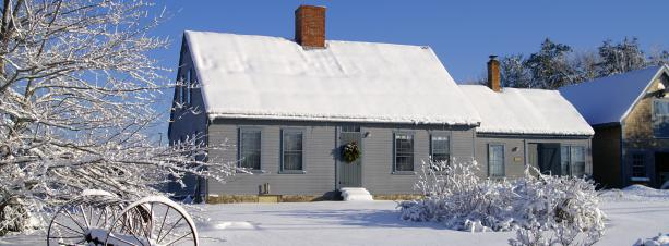 A snow covered home in winter