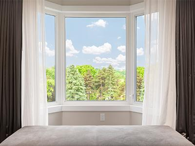 Bay window in a bedroom.