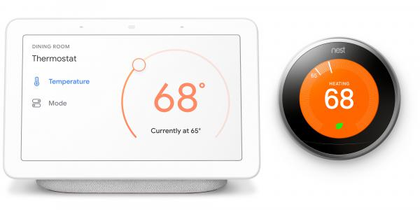 A Nest wi-fi thermostat works with a smartphone and tablet