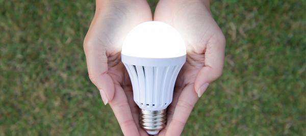 Hands holding LED bulb
