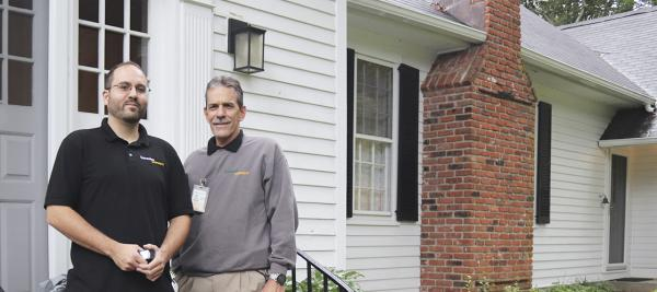 BantamWesson Home Energy Solutions Technicians at a historic home in Washington, CT
