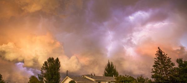 Summer evening storm brewing with lightening