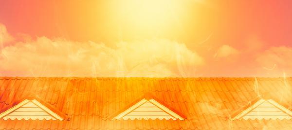 Hot sun over a home
