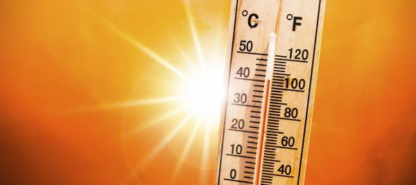 A thermostat in the hot sun