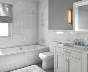 Modern upgraded bathroom with dual sinks, showerhead and tub